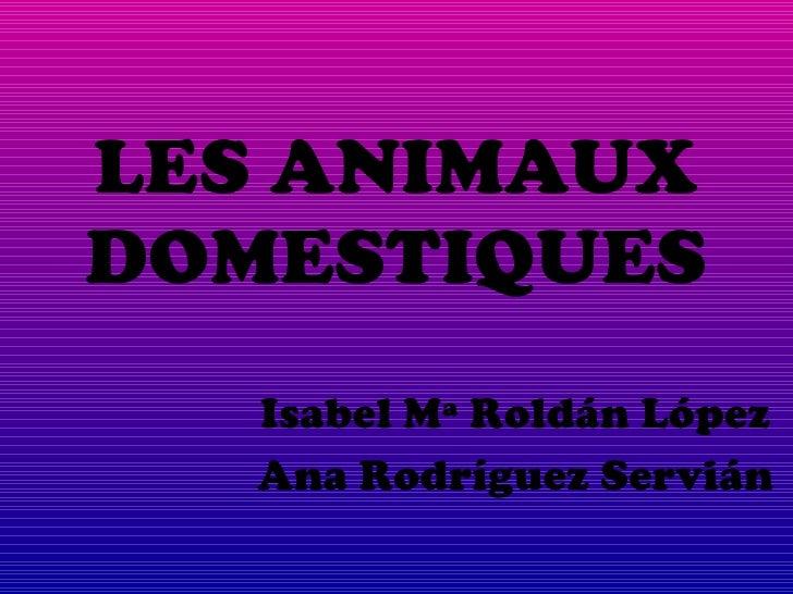 LES ANIMAUX DOMESTIQUES Isabel Mª Roldán López Ana Rodríguez Servián