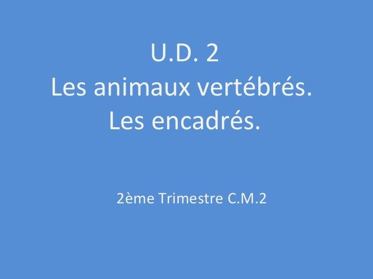 U.D. 2 Les animaux vertébrés.  Les encadrés. 2ème Trimestre C.M.2