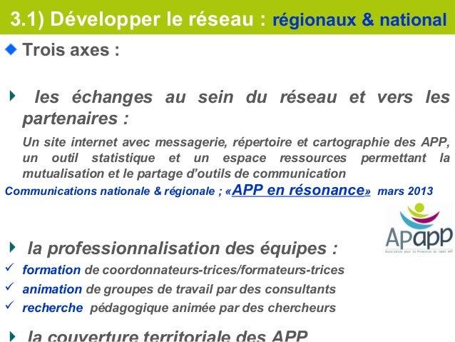 3.1) Développer le réseau : régionaux & national  Trois axes :   les échanges au sein du réseau et vers les  partenaires :...