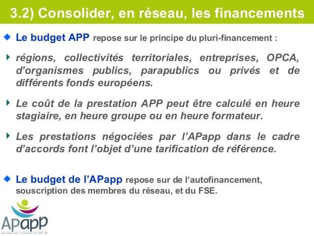 3.2) Consolider, en réseau, les financementsLe budget APP repose sur le principe du pluri-financement :régions, collectivi...