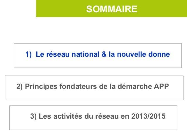 SOMMAIRE  1) Le réseau national & la nouvelle donne2) Principes fondateurs de la démarche APP   3) Les activités du réseau...
