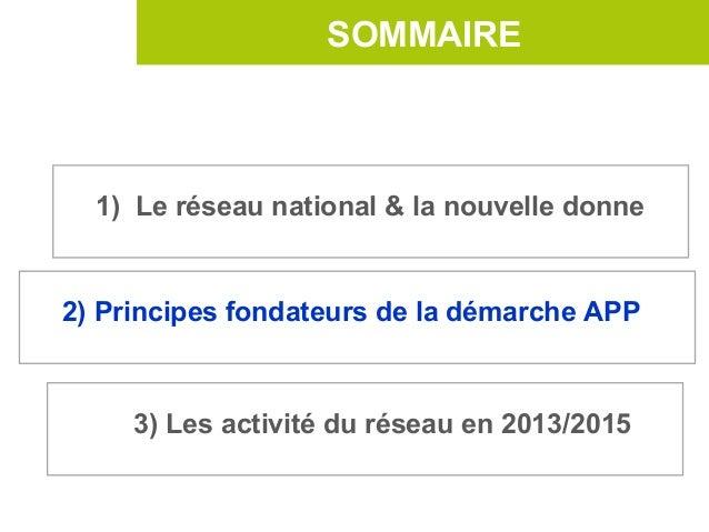 SOMMAIRE  1) Le réseau national & la nouvelle donne2) Principes fondateurs de la démarche APP     3) Les activité du résea...