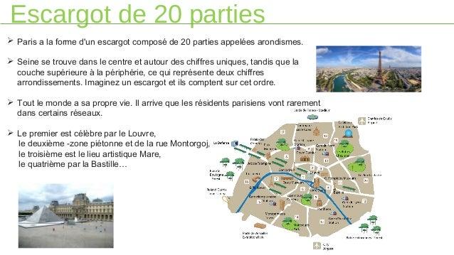 Escargot de 20 parties  Paris a la forme d'un escargot composé de 20 parties appelées arondismes.  Seine se trouve dans ...