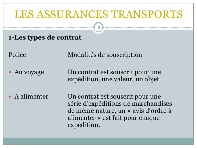 LES ASSURANCES TRANSPORTS 5 1-Les types de contrat. Police Modalités de souscription  Au voyage Un contrat est souscrit p...
