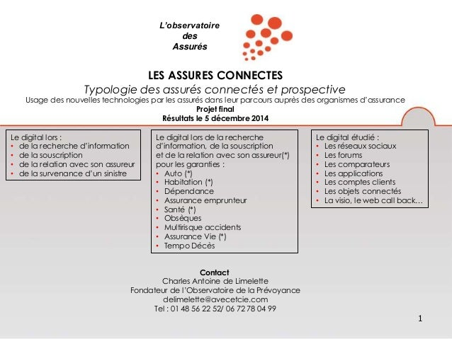 1  L'observatoire  des  Assurés  LES ASSURES CONNECTES  Typologie des assurés connectés et prospective  Usage des nouvelle...