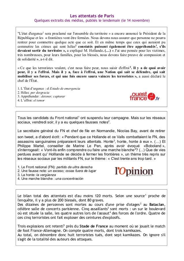 """Les attentats de Paris Quelques extraits des médias, publiés le lendemain (le 14 novembre) """"L'état d'urgence1 sera proclam..."""