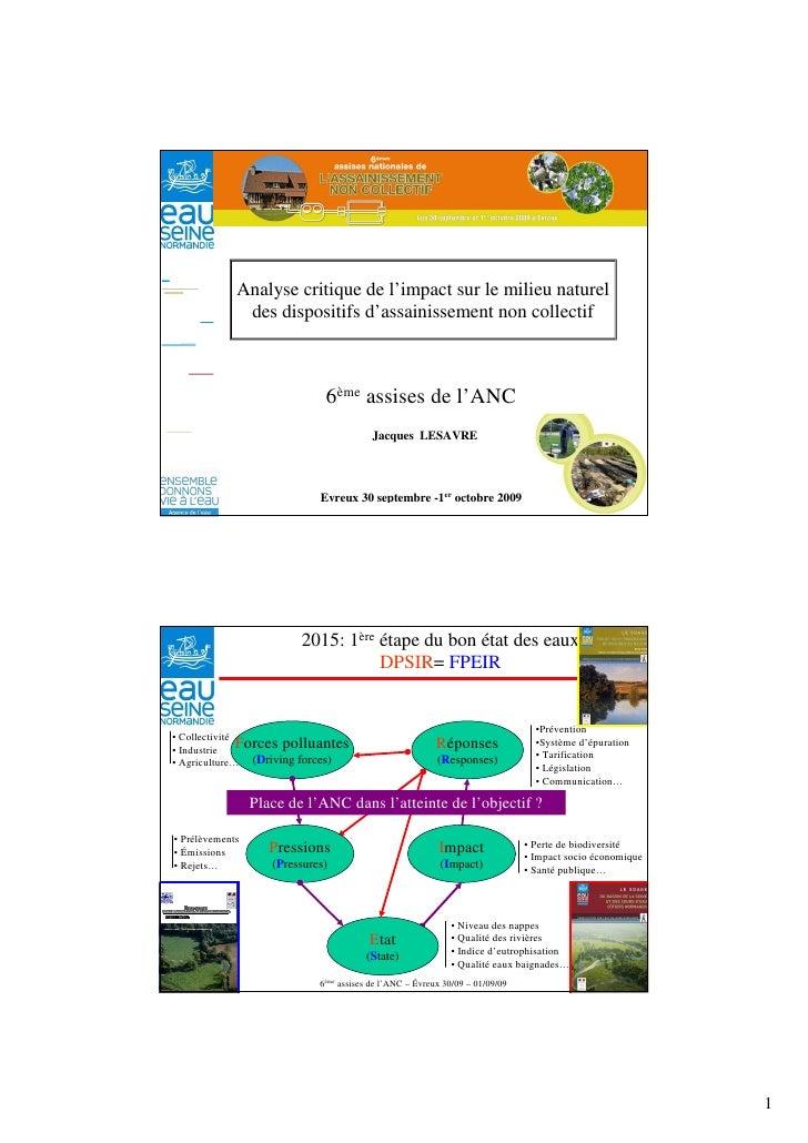 Analyse critique de l'impact sur le milieu naturel                 des dispositifs d'assainissement non collectif         ...