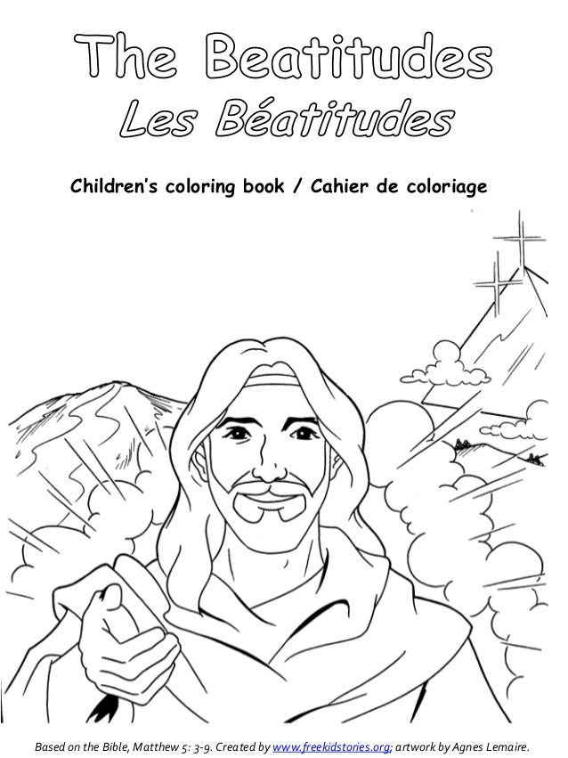 livre de coloriage pour enfants / Cahier de coloriageBased sur la Bible, Matthieu 5: 3-9.  Créé par www.freekidstories.org;  artwo ...