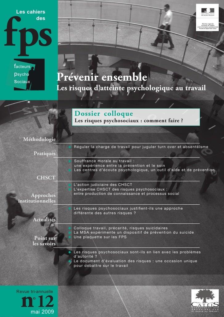 fps Les cahiers        desfacteurspsychosociaux                  Prévenir ensemble                         Les risques d'a...