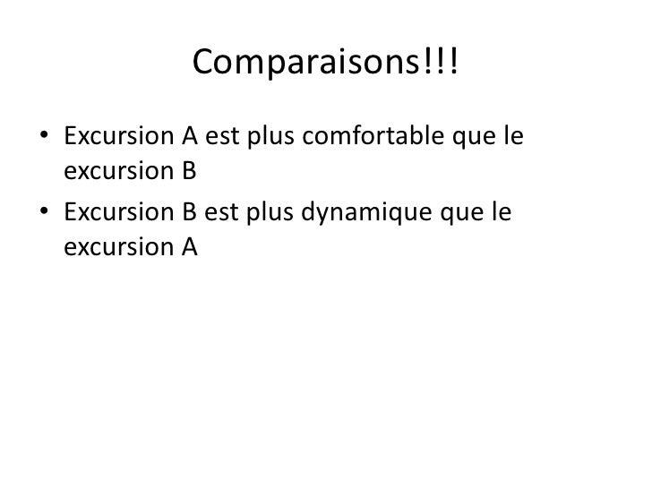 Comparaisons!!!<br />Excursion A est plus comfortable que le excursion B<br />Excursion B est plus dynamiqueque le excursi...