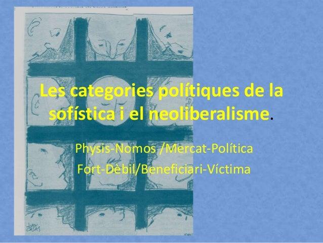 Les categories polítiques de la sofística i el neoliberalisme. Physis-Nomos /Mercat-Política Fort-Dèbil/Beneficiari-Víctima