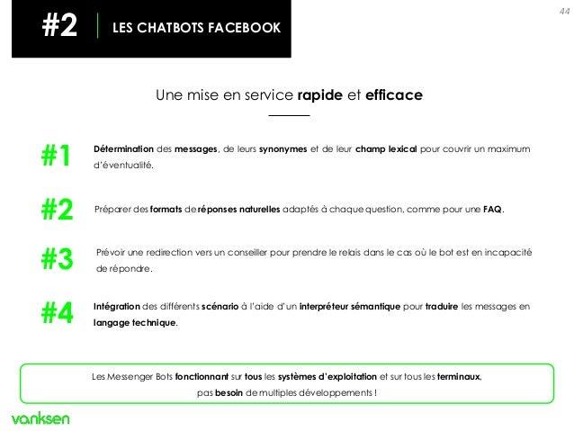 44 #2 LES CHATBOTS Une mise en service rapide et efficace #2 LES CHATBOTS FACEBOOK Les Messenger Bots fonctionnant sur tou...
