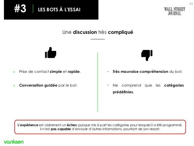 73 #3 LES BOTS À L'ESSAI Une discussion très compliqué + Prise de contact simple et rapide. + Conversation guidée par le b...