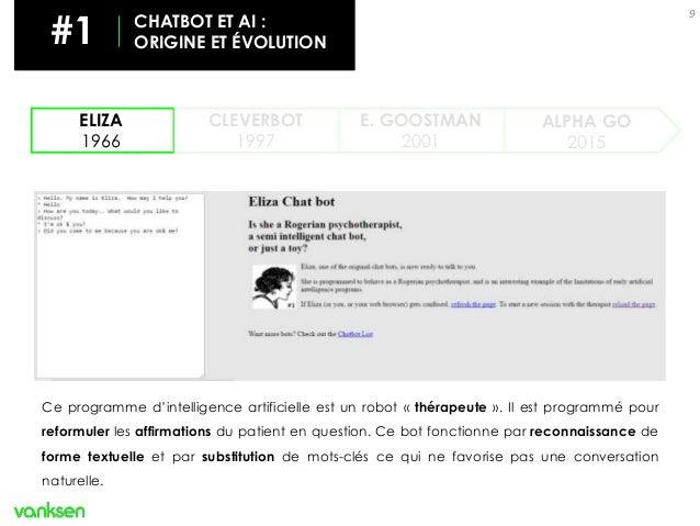 9 ELIZA 1966 CLEVERBOT 1997 ALPHA GO 2015 E. GOOSTMAN 2001 Ce programme d'intelligence artificielle est un robot « thérape...