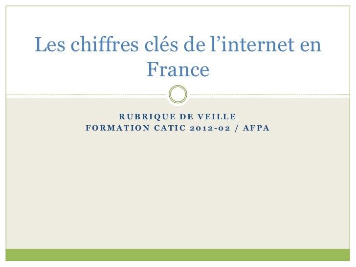 Les chiffres clés de l'internet en             France          RUBRIQUE DE VEILLE      FORMATION CATIC 2012-02 / AFPA