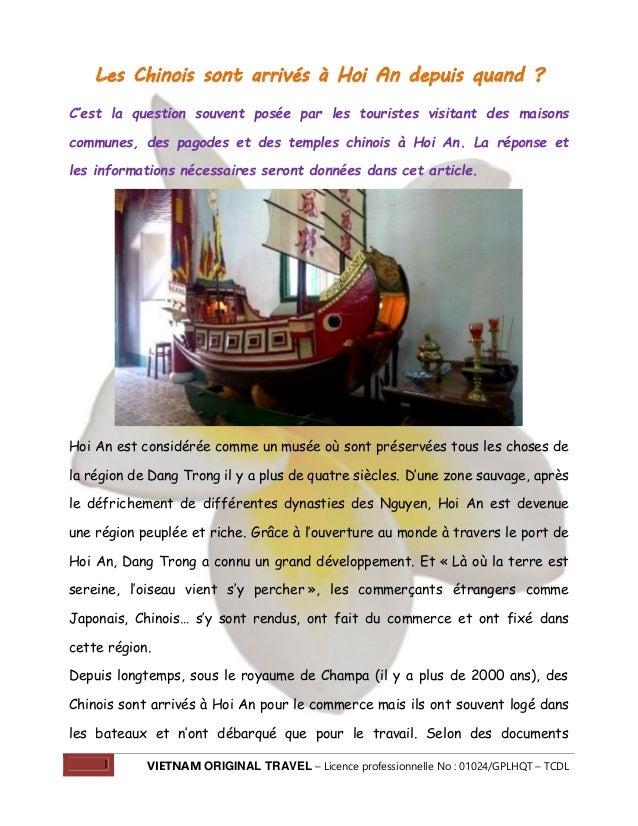 Les Chinois sont arrivés à Hoi An depuis quand ? C'est la question souvent posée par les touristes visitant des maisons co...