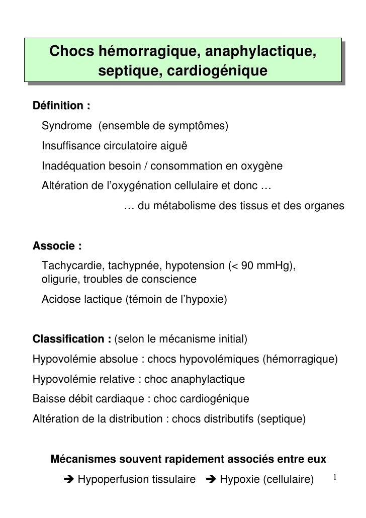 Chocs hémorragique, anaphylactique,   Chocs hémorragique, anaphylactique,         septique, cardiogénique         septique...