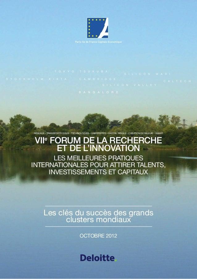 Réseaux - transports doux - technologies - universités - Capital risQUE - création de valeur - smartVIIe Forum de la reche...