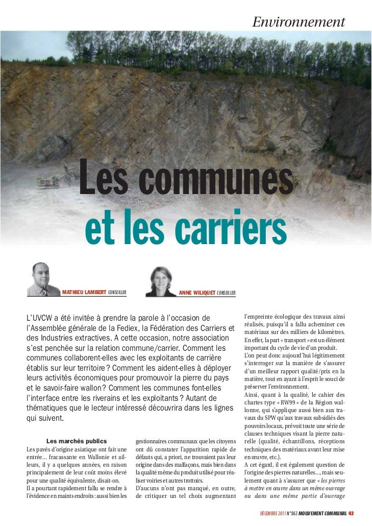Environnement                       Les communes                       et les carriers                MATHIEU LAMBERT CONS...