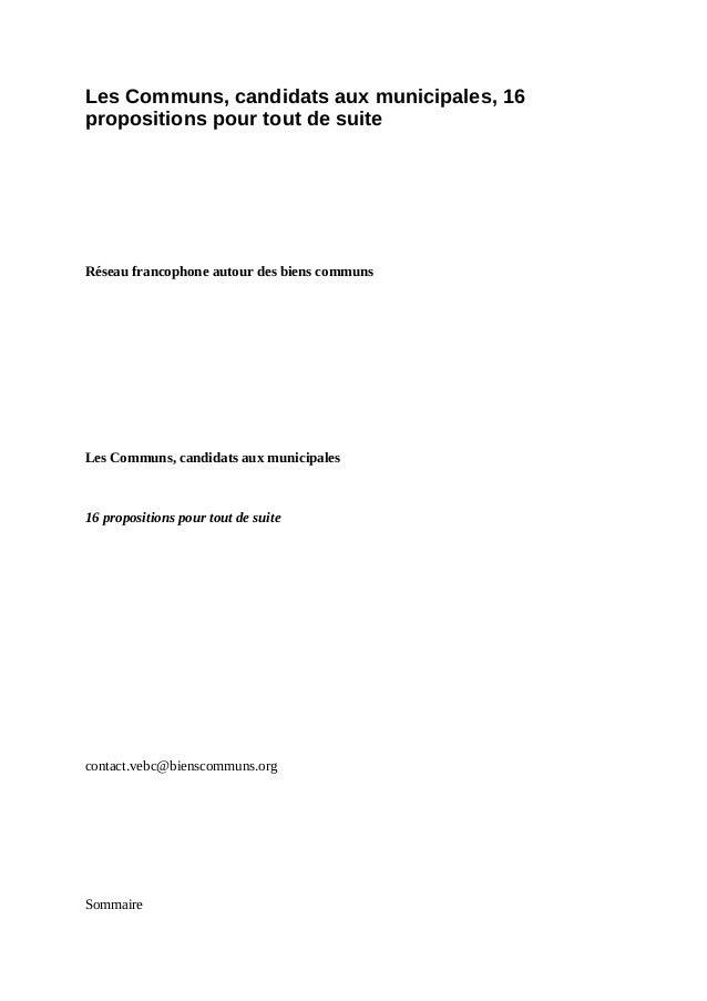 Les Communs, candidats aux municipales, 16 propositions pour tout de suite Réseau francophone autour des biens communs Les...