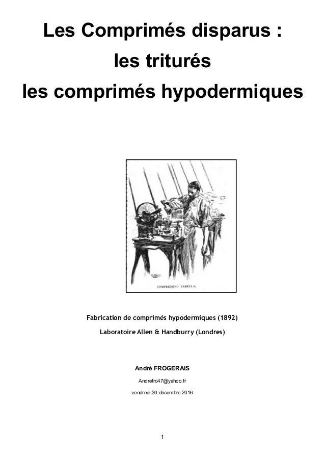 Les Comprimés disparus : les triturés les comprimés hypodermiques  Fabrication de comprimés hypodermiques (1892) Laborato...