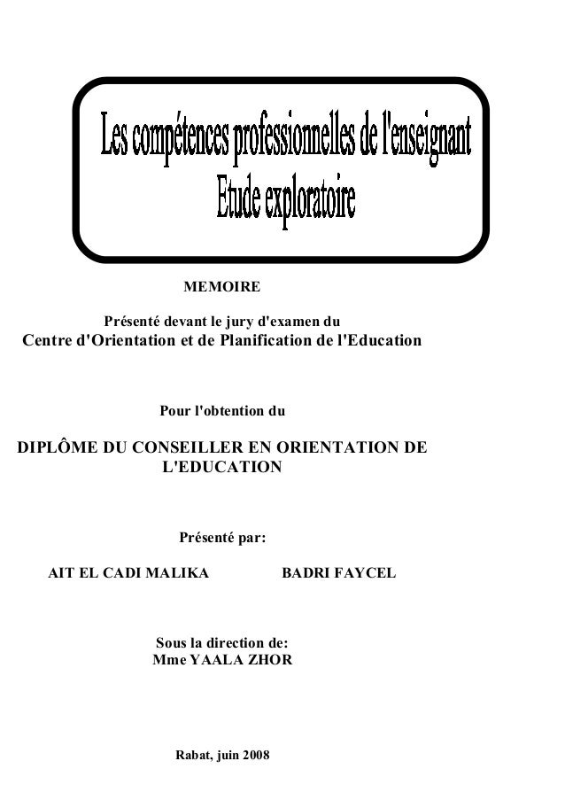 MEMOIRE Présenté devant le jury d'examen du  Centre d'Orientation et de Planification de l'Education  Pour l'obtention du ...