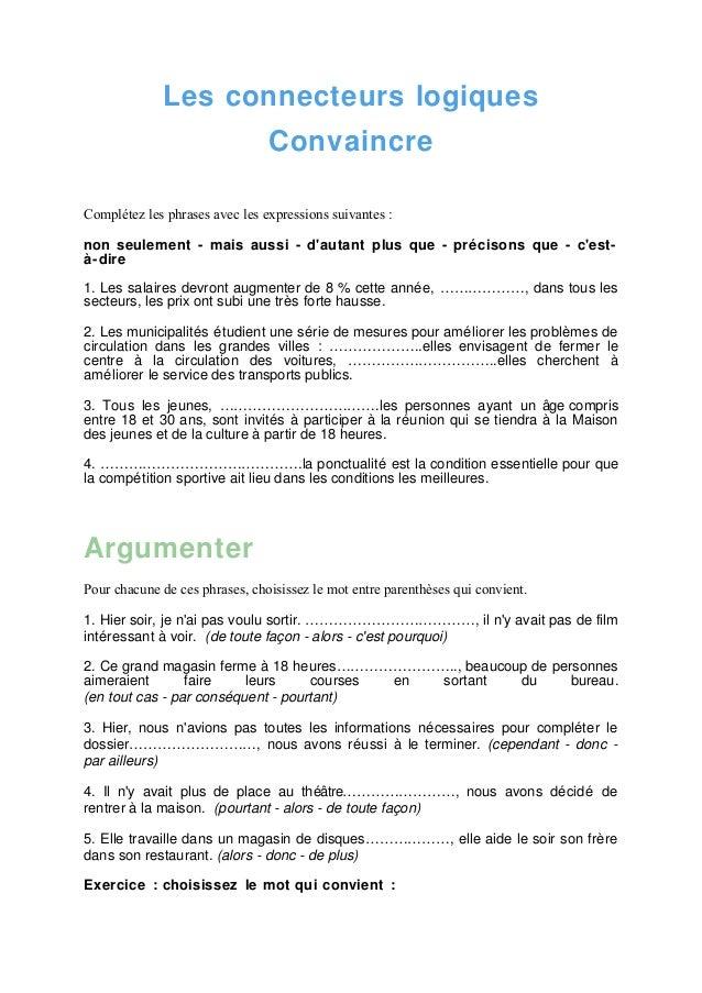 exercices sur les connecteurs logiques avec corrigés pdf