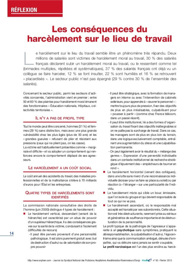 RÉFLEXION  14  Les conséquences du  harcèlement sur le lieu de travail  Le harcèlement sur le lieu du travail semble être ...