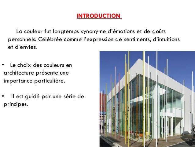 Cours th orie de projet les couleurs et l 39 architecture for Projet architectural definition