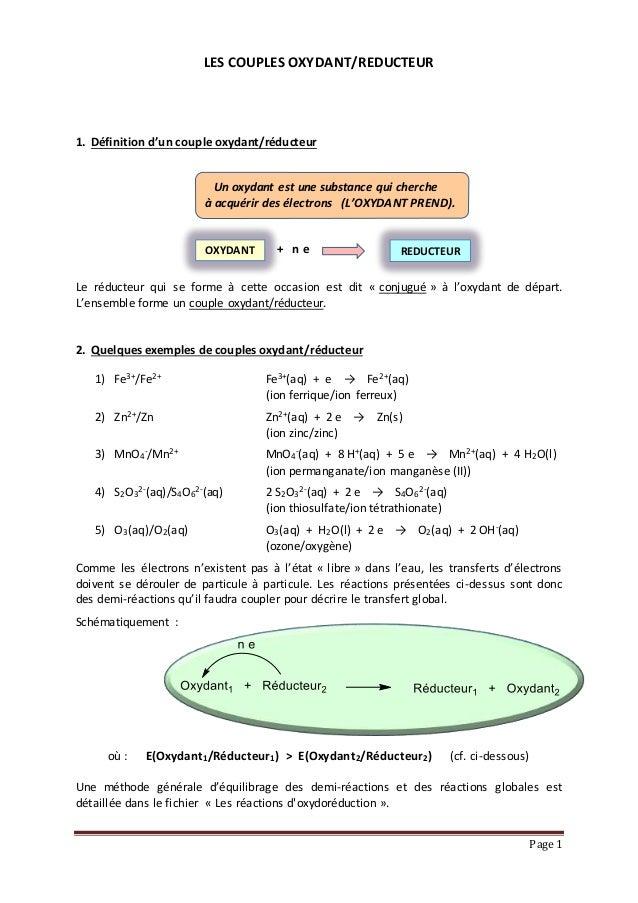 Page 1 LES COUPLES OXYDANT/REDUCTEUR 1. Définition d'un couple oxydant/réducteur Un oxydant est une substance qui cherche ...