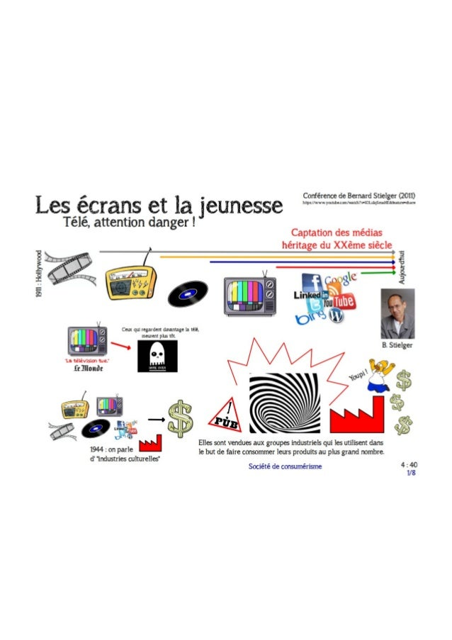 Les écrans et la jeunesse  d'après la conférence de B. Stielger 2011