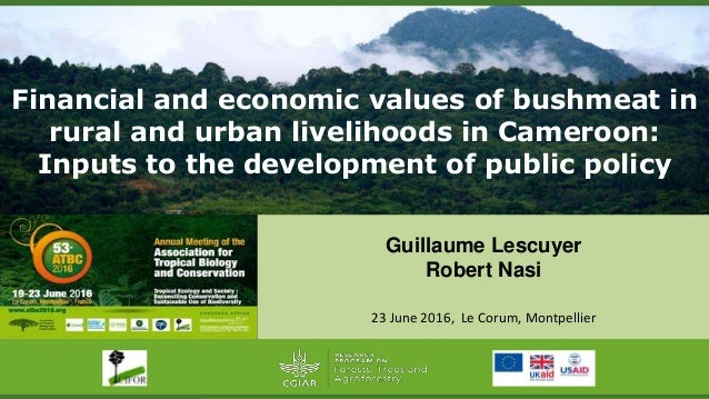Financial and economic values of bushmeat in rural and urban livelihoods in Cameroon: Inputs to the development of public ...