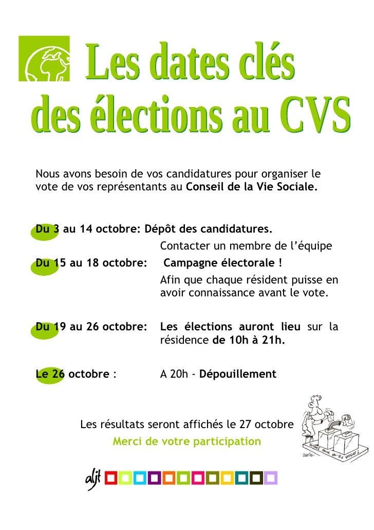 les dates cl u00e9s des  u00e9lections au cvs 2010