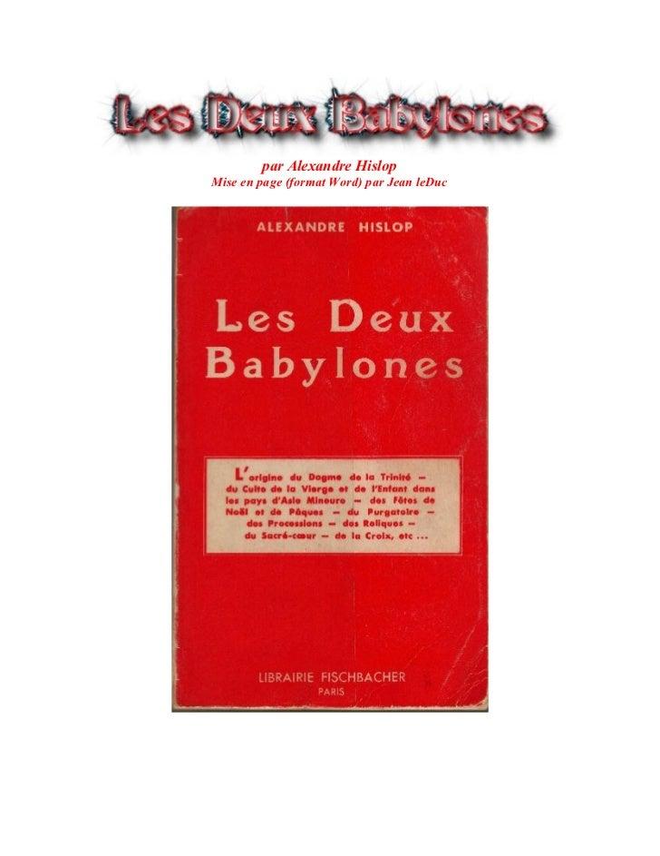par Alexandre HislopMise en page (format Word) par Jean leDuc