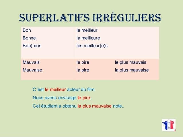 Les degrés des adjectifs