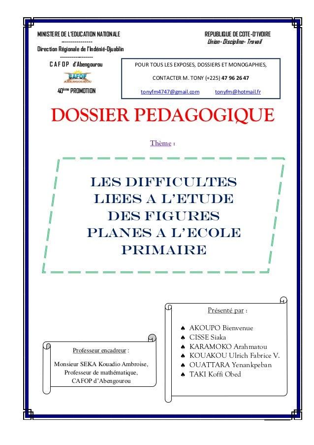 MINISTERE DE L'EDUCATION NATIONALE REPUBLIQUE DE COTE-D'IVOIRE ---------------- Union- Discipline- Travail Direction Régio...