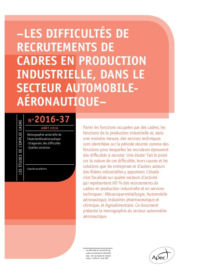 LESÉTUDESDEL'EMPLOICADRE Monographie sectorielle de l'Automobile-aéronautique - Diagnostic des difficultés - Quelles solut...
