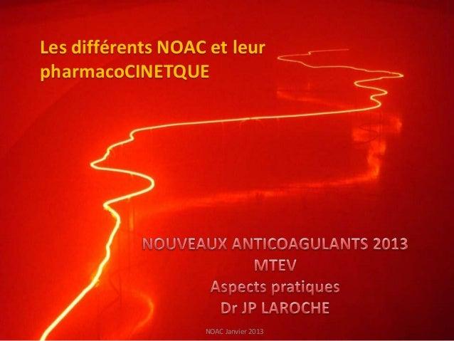 Les différents NOAC et leurpharmacoCINETQUE                   NOAC Janvier 2013