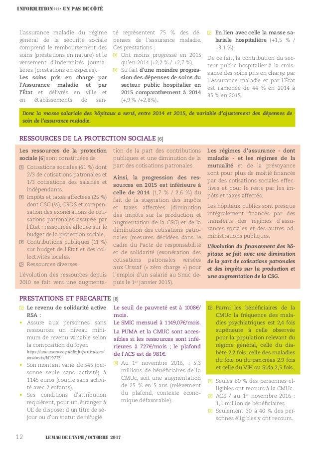 Le MAG de l'INPH / OCTOBRE 201712 L'assurance maladie du régime général de la sécurité sociale comprend le remboursement d...