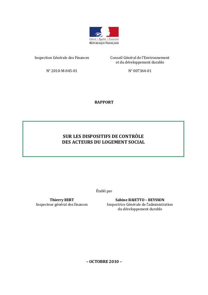 Inspection Générale des Finances           Conseil Général de l'Environnement                                             ...
