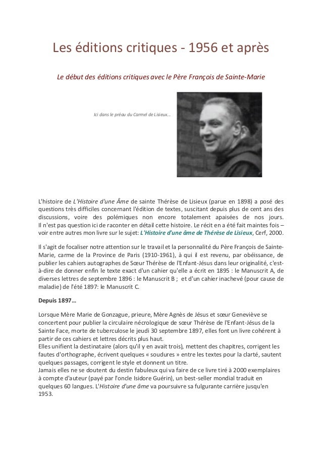 Les éditions critiques - 1956 et après Le début des éditions critiques avec le Père François de Sainte-Marie Ici dans le p...