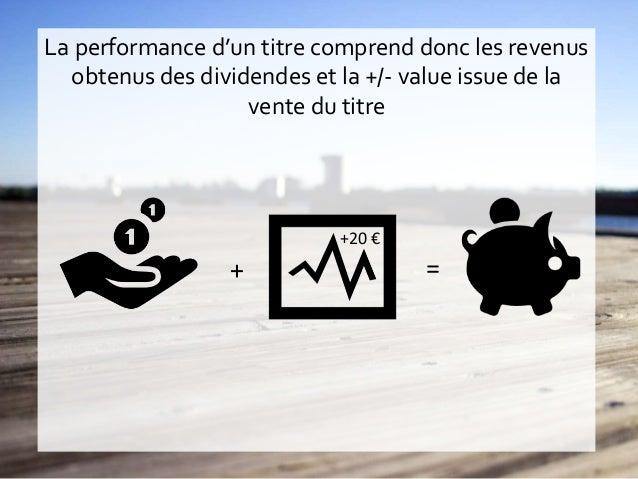 La performance d'un titre comprend donc les revenus obtenus des dividendes et la +/- value issue de la vente du titre + = ...
