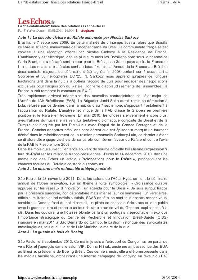 """La """"dé-rafalisation"""" finale des relations France-Brésil  Página 1 de 4  La """"dé-rafalisation"""" finale des relations France-B..."""