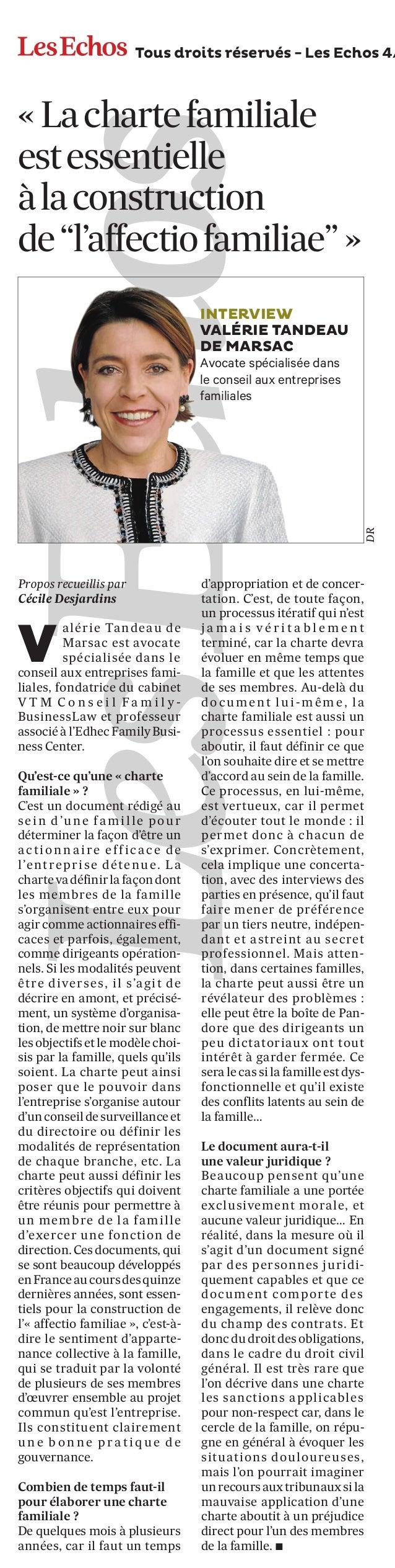 """Tous droits réservés - Les Echos 4/  « La charte familiale est essentielle à la construction de """"l'affectio familiae"""" »  D..."""