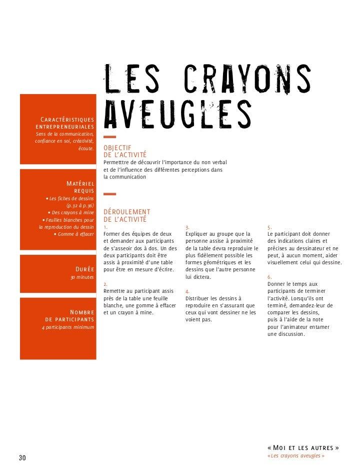 Les crayons      Caractéristiques     entrepreneuriales     Sens de la communication,     confiance en soi, créativité,   ...