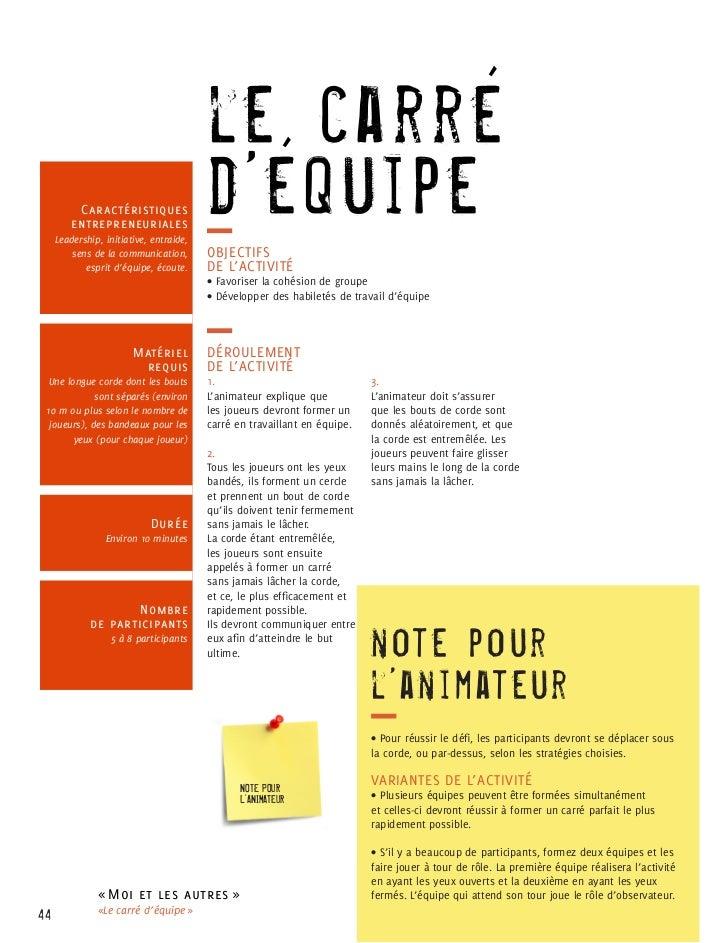 le carré          Caractéristiques         entrepreneuriales     Leadership, initiative, entraide,                        ...