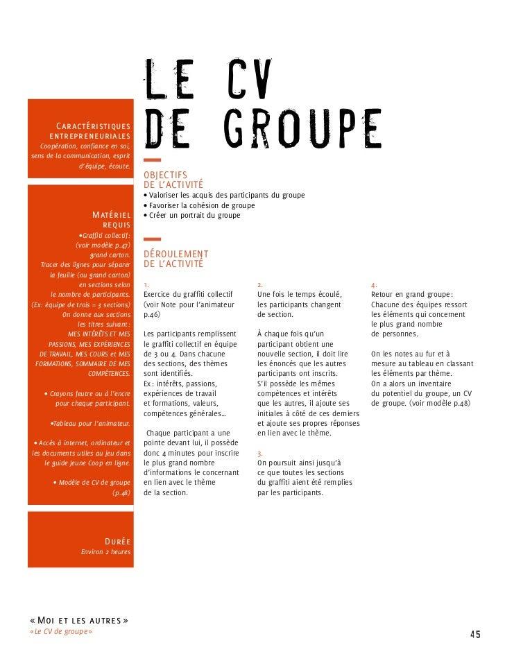 Le CV        Caractéristiques       entrepreneuriales   Coopération, confiance en soi,sens de la communication, esprit    ...