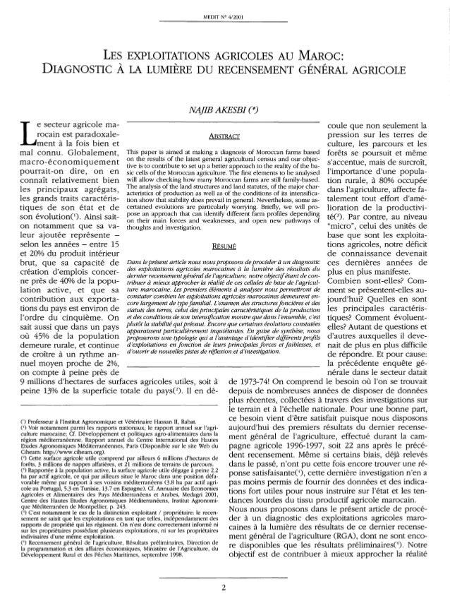 MEDIT W 412001 LES EXPLOITATIONS AGRICOLES AU MAROC: DIAGNOSTIC A LA LUMIERE DU RECENSEMENT GENERAL AGRICOLE Le secteur ag...