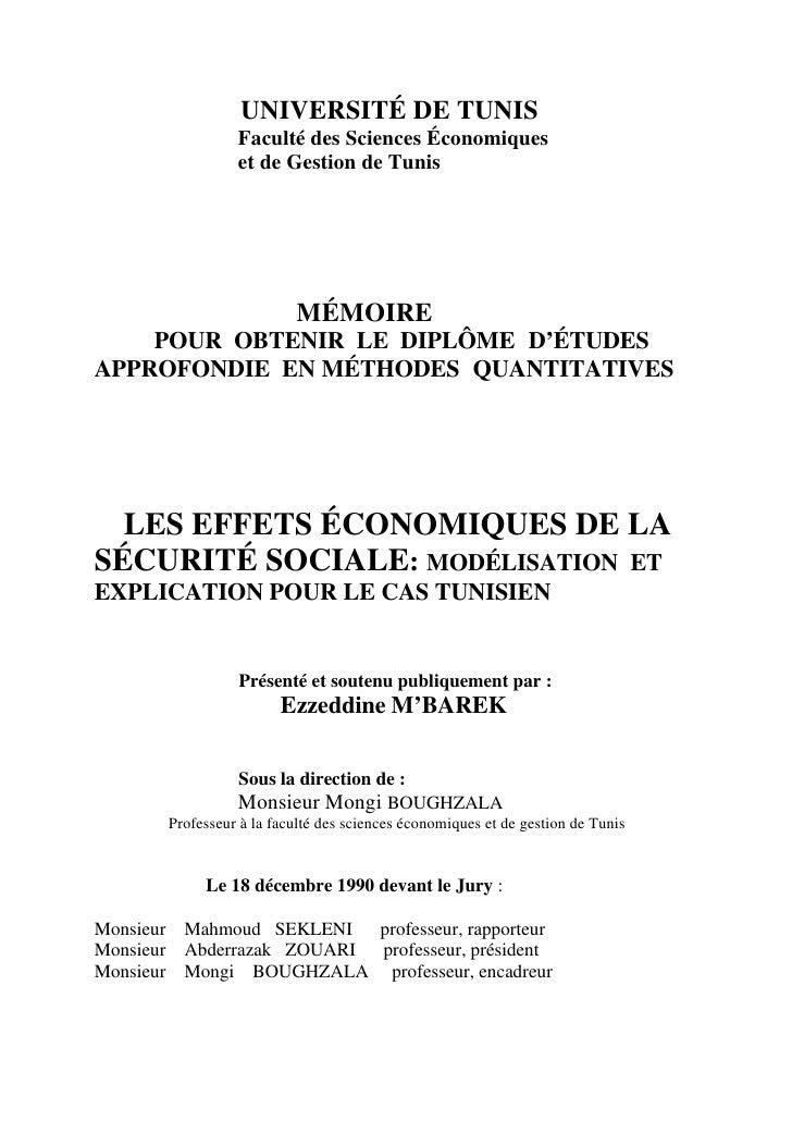 UNIVERSITÉ DE TUNIS                  Faculté des Sciences Économiques                  et de Gestion de Tunis             ...