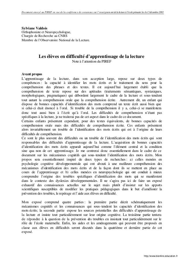 Document envoyé au PIREF en vue de la conférence de consensus sur l'enseignement de la lecture à l'école primaire les 4 et...